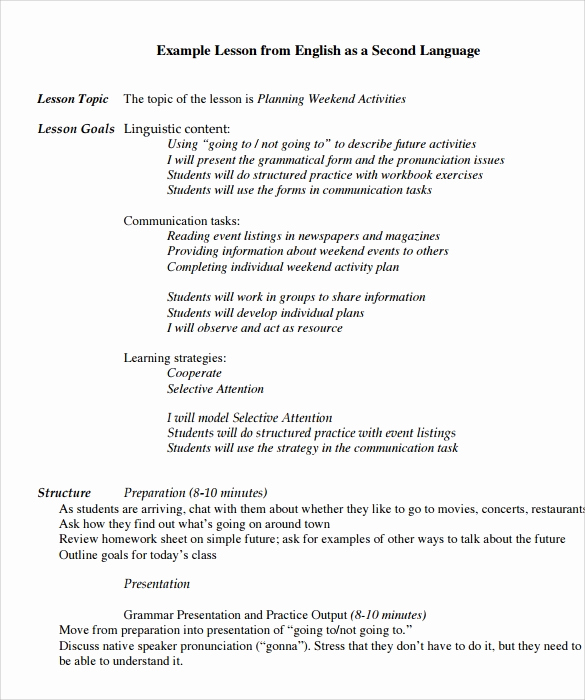 Sample Lesson Plan for Preschool Unique Preschool Lesson Plan Template 10 Download Free