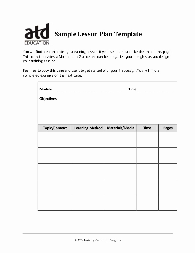 Sample Lesson Plan Template Awesome Sample Lesson Plan Template