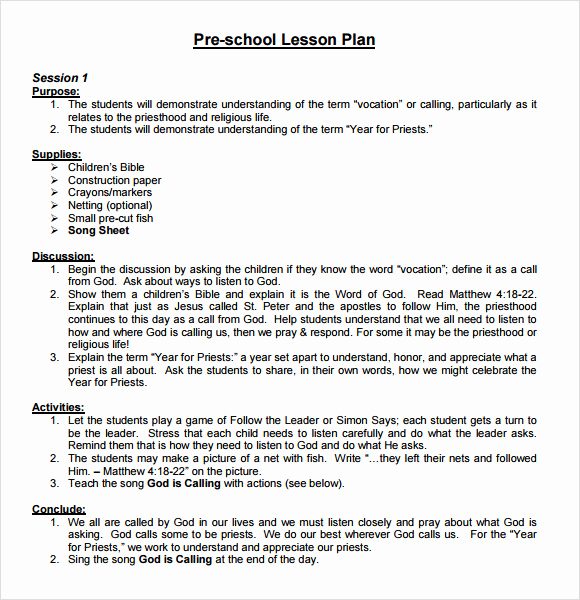 Sample Lesson Plan Template Elegant Sample Preschool Lesson Plan 10 Pdf Word formats