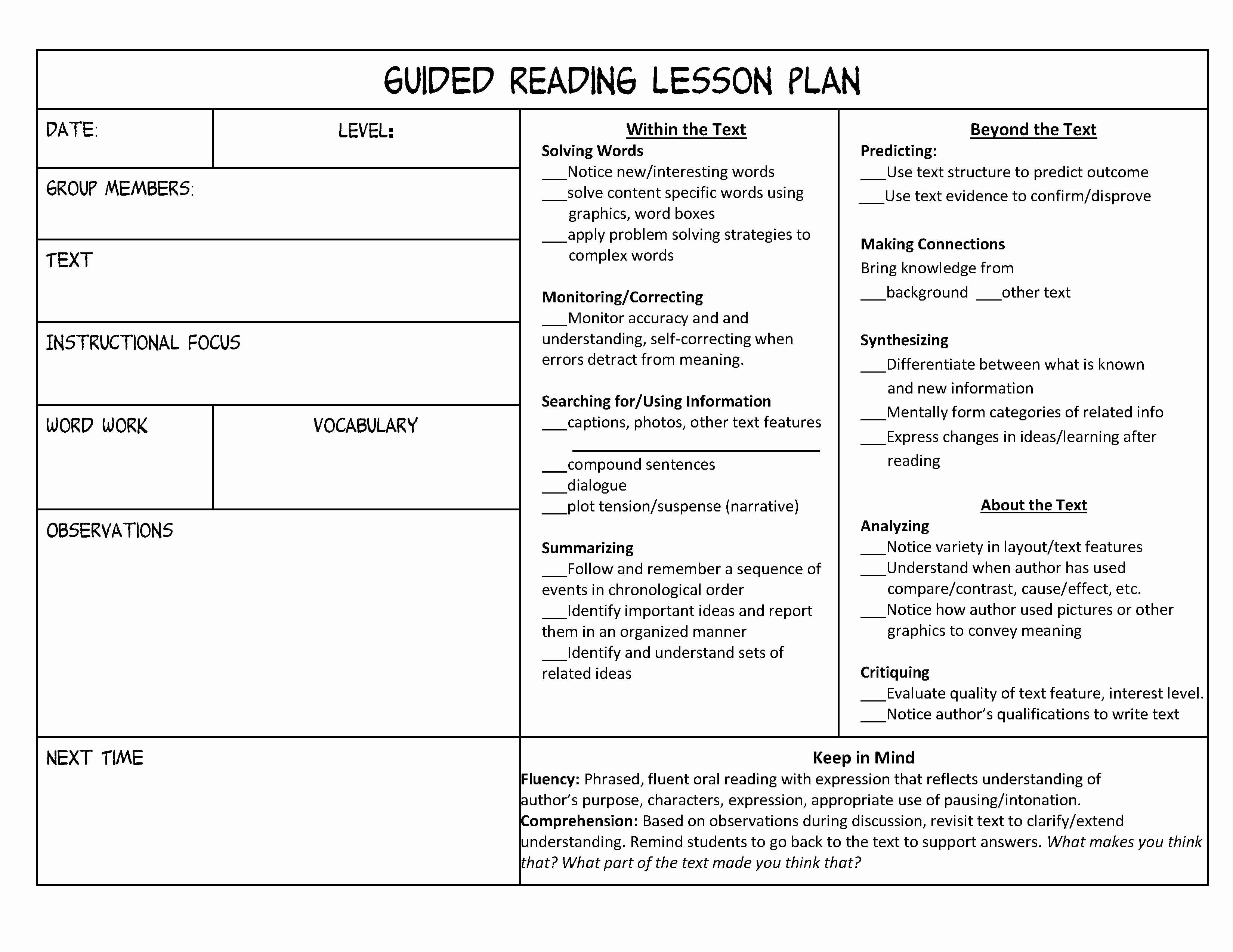 Sample Lesson Plan Template Fresh Guided Reading organization Made Easy