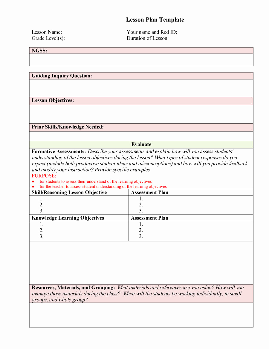 Sample Lesson Plan Template Lovely 44 Free Lesson Plan Templates [ Mon Core Preschool Weekly]