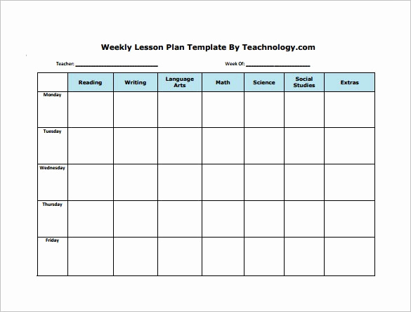 Sample Lesson Plan Template Luxury Weekly Lesson Plan Template
