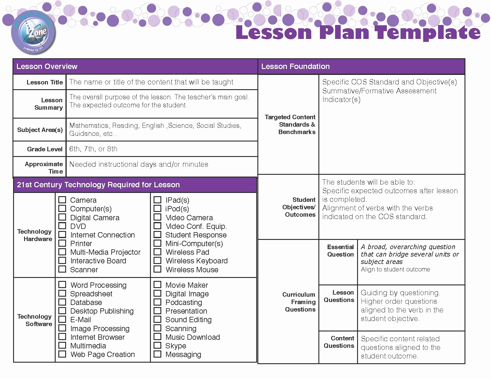 Sample Lesson Plan Template New Lesson Plan Template