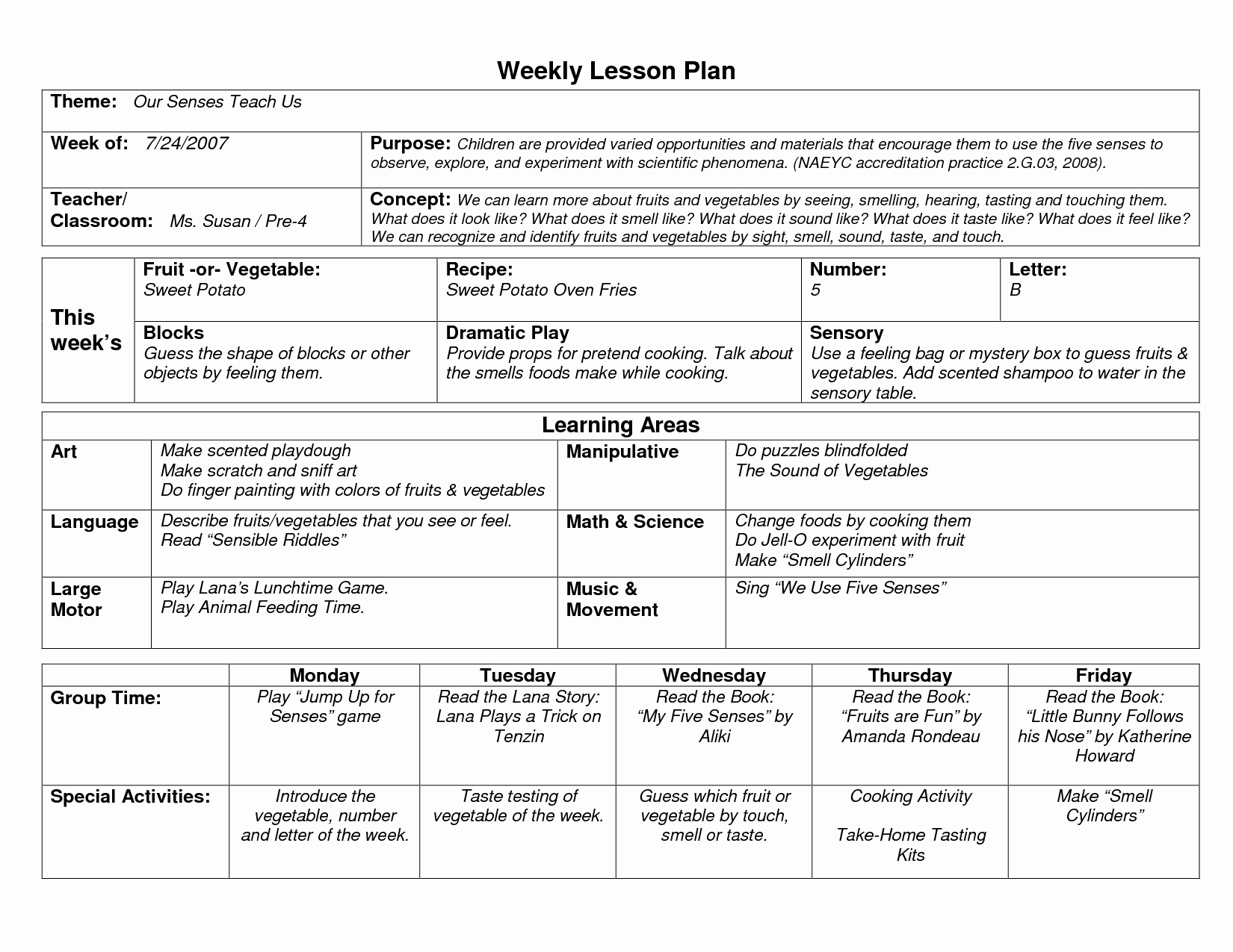 Sample Lesson Plan Template Unique Naeyc Lesson Plan Template for Preschool