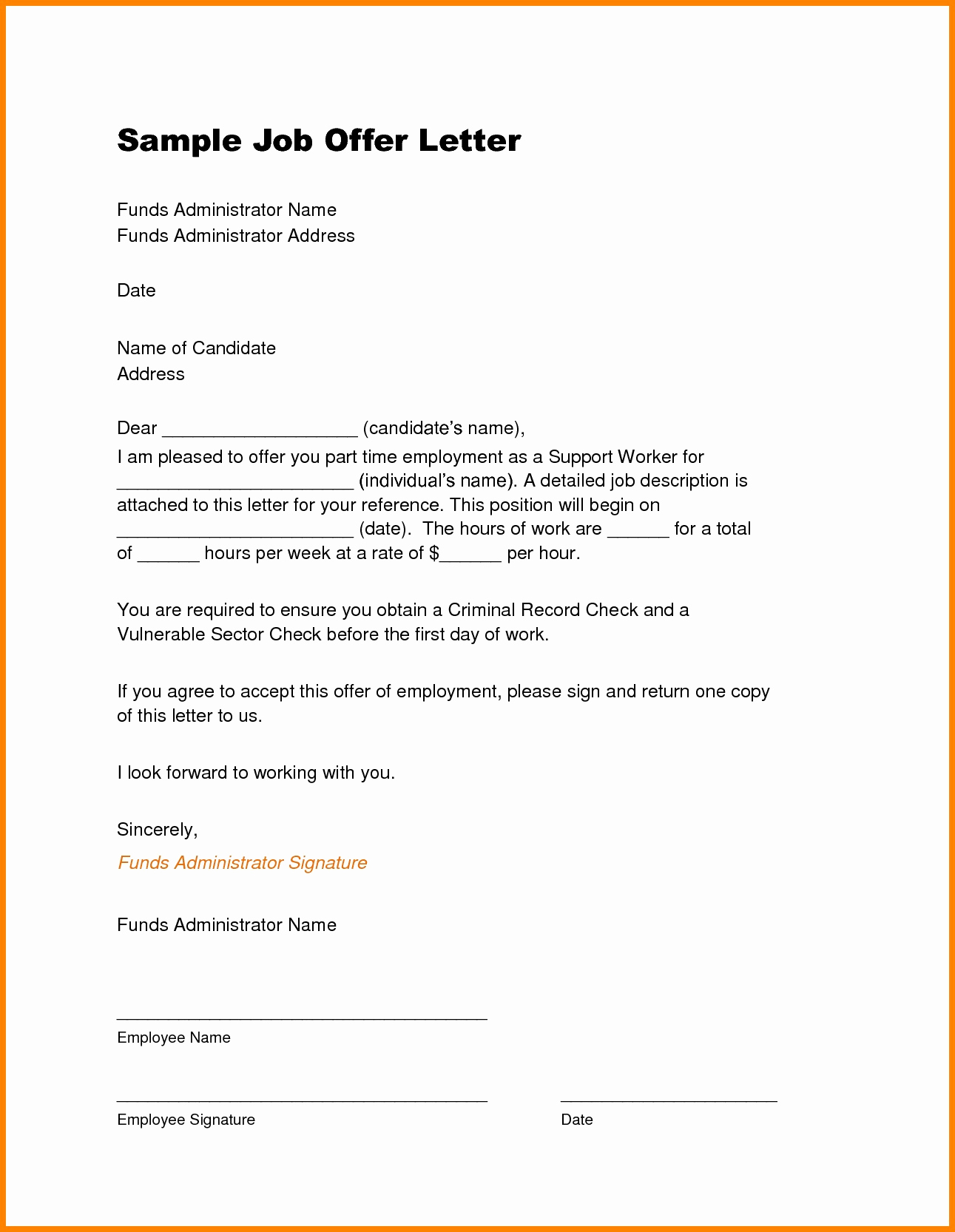 Sample Letter Of Employement Awesome Sample Offer Letter Pelosleclaire