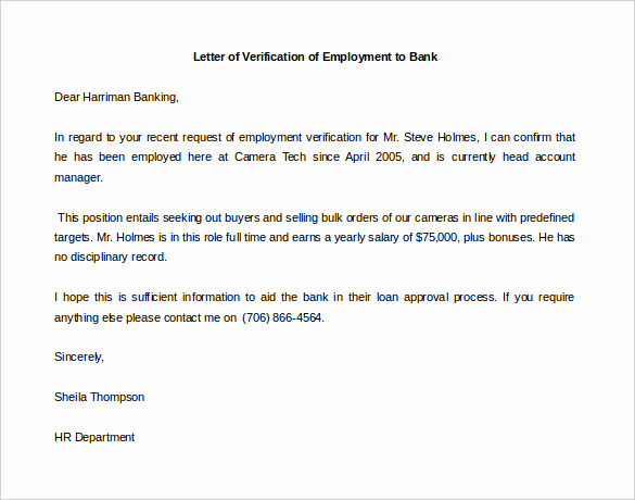 Sample Letter Of Employement Beautiful Letter Of Employment Verification Template