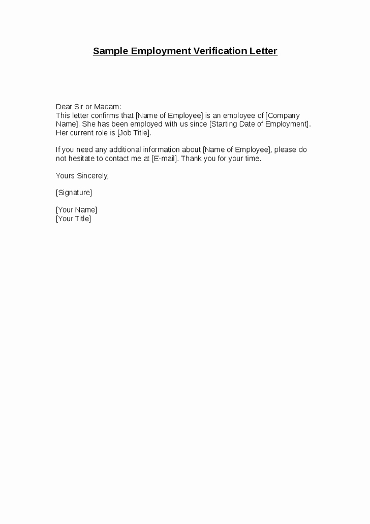 Sample Letter Of Employement Best Of Employment Confirmation Letter Template Doc