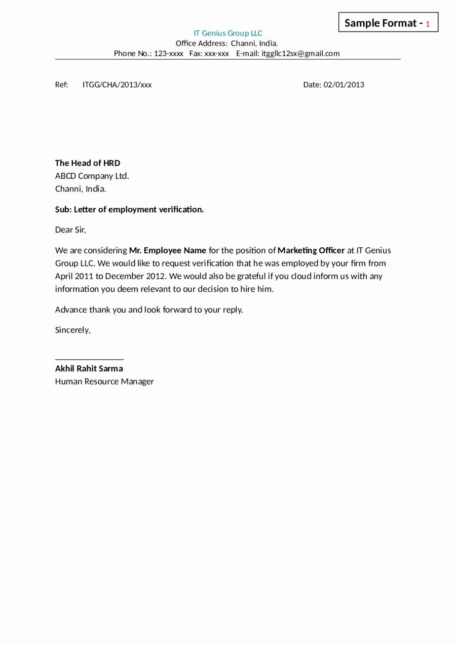 Sample Letter Of Employement Lovely Letter Employment