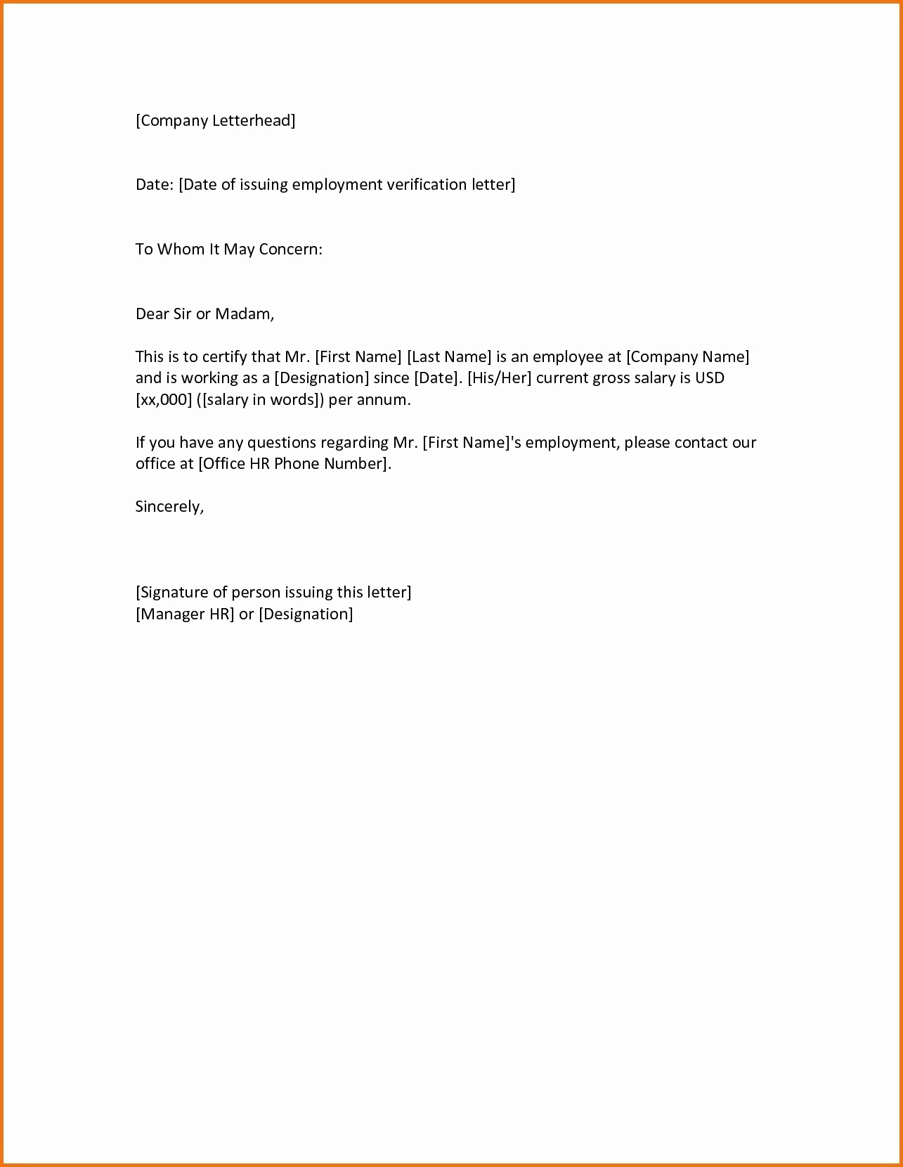 Sample Letter Of Employement Luxury Employment Verification Letter to whom It May Concern