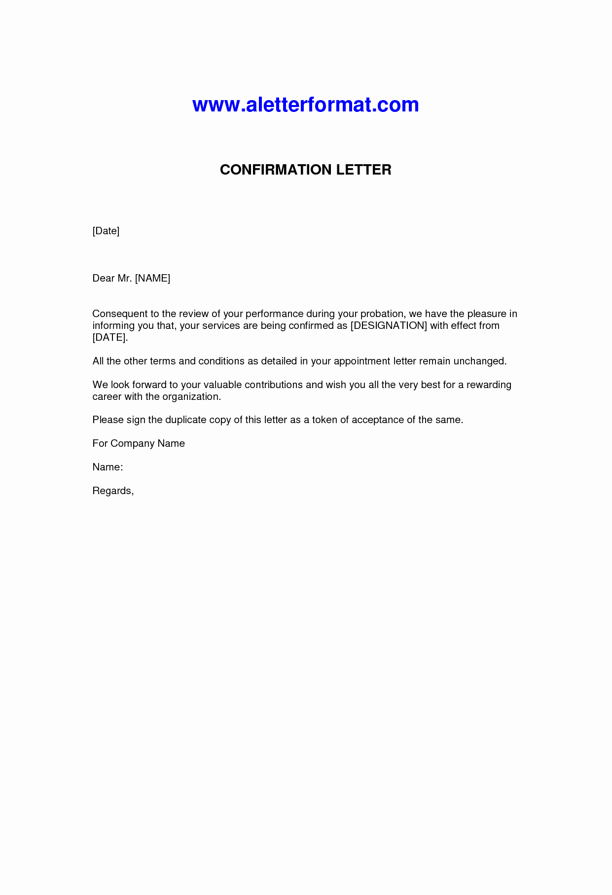 Sample Letter Of Employement New Letter Confirmation Employment