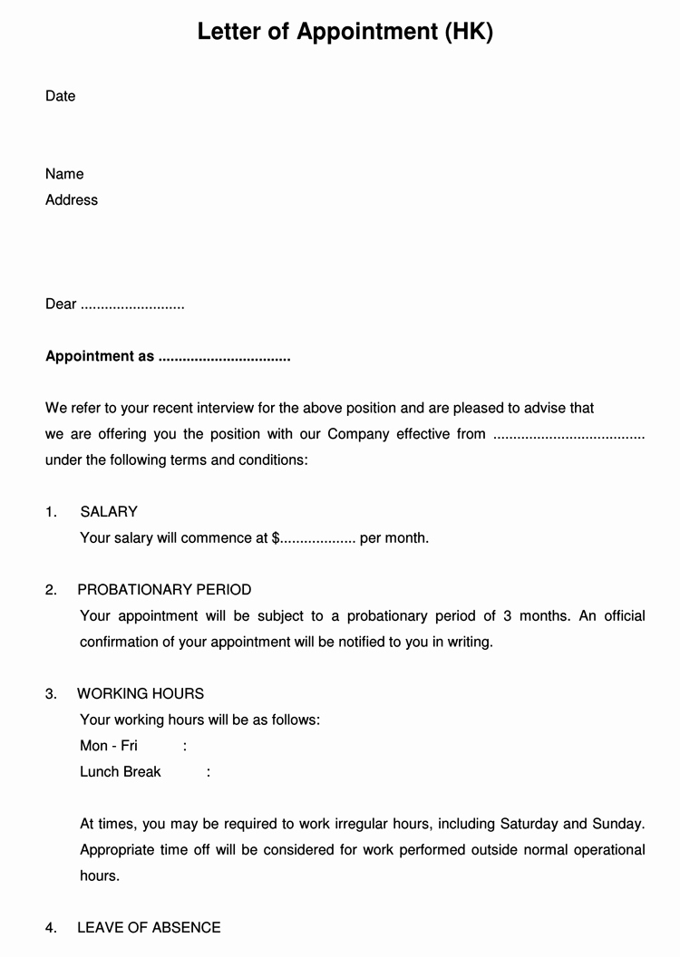 Sample Letter Of Employement Unique 60 Samples Of Appointment Letter format In Pdf and Word