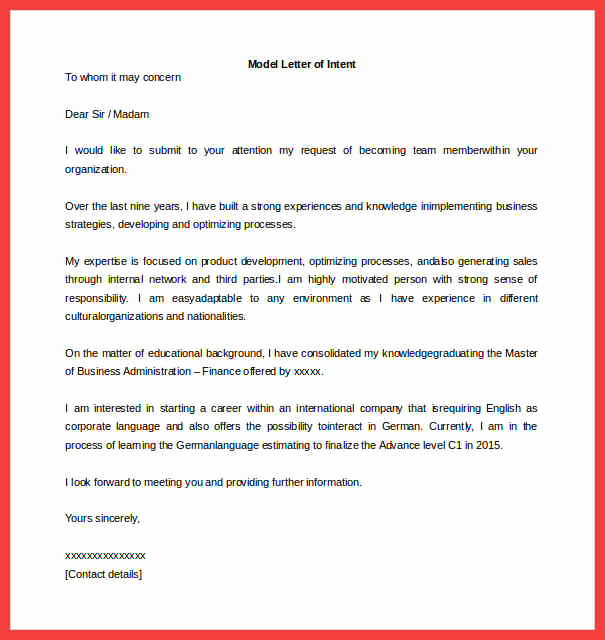 Sample Letter Of Intent Business Awesome Letter Of Intent