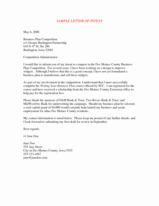 Sample Letter Of Intent Business Best Of Letter Intent Sample for Business Partnership to whom