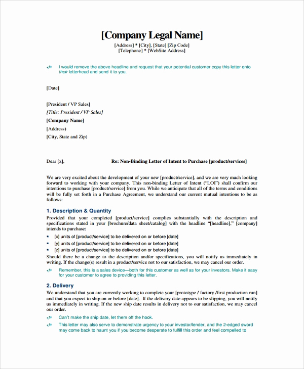 Sample Letter Of Intent Business Inspirational Sample Letter Of Intent Contract 8 Documents In Pdf Word