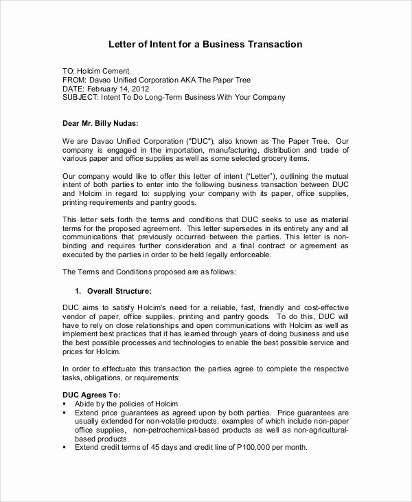 Sample Letter Of Intent Business Unique 37 Sample Business Letters In Pdf