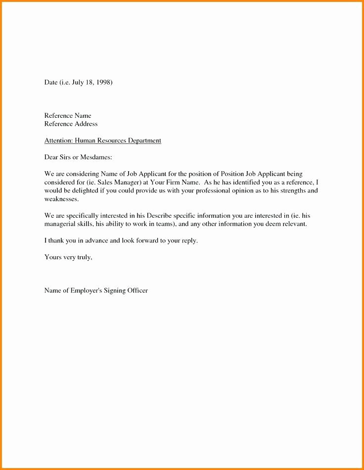 Sample Letter Of Reference Unique 15 Sample Employers Reference Letter