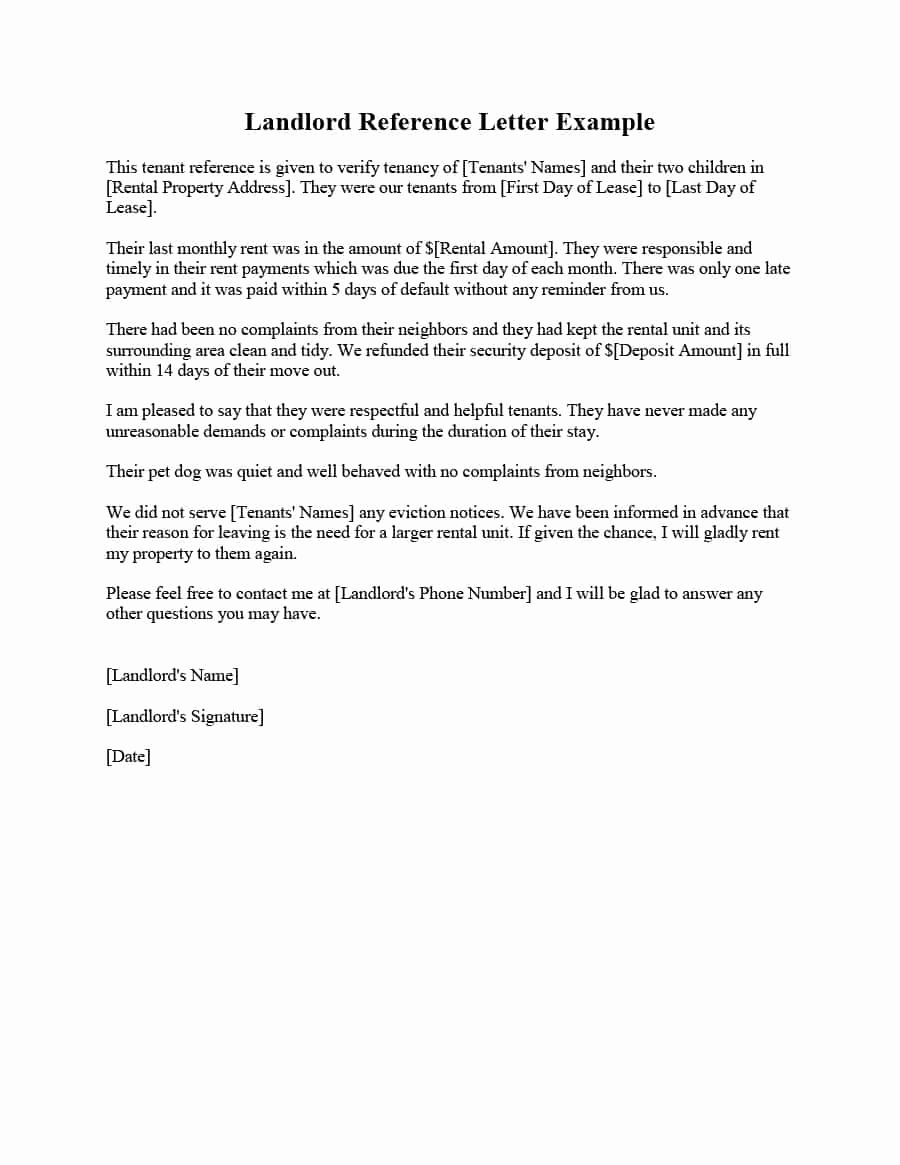 Sample Letter to Landlord Awesome 40 Landlord Reference Letters & form Samples Template Lab