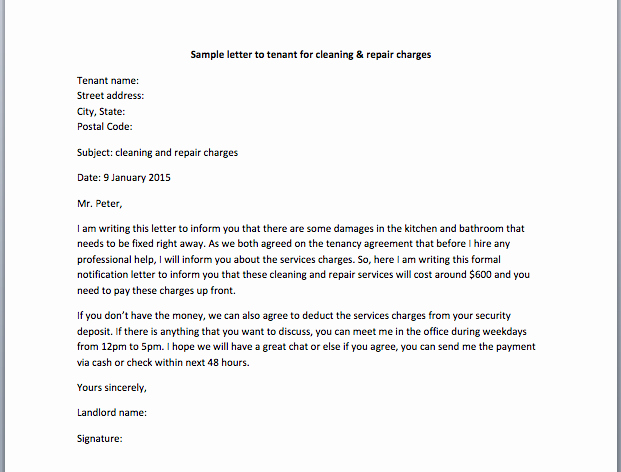 Sample Letter to Landlord Awesome Sample Letter to Tenant for Cleaning & Repair Charges