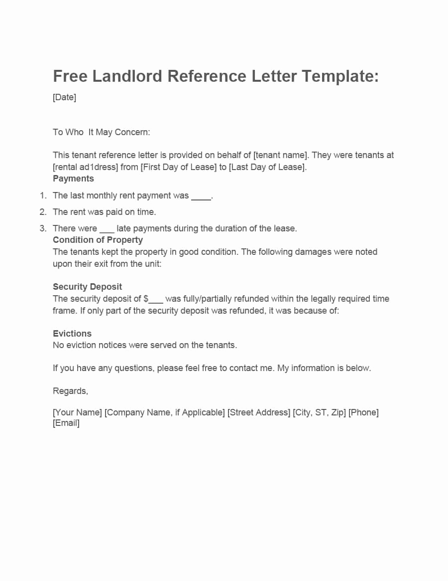 Sample Letter to Landlord Beautiful 40 Landlord Reference Letters & form Samples Template Lab