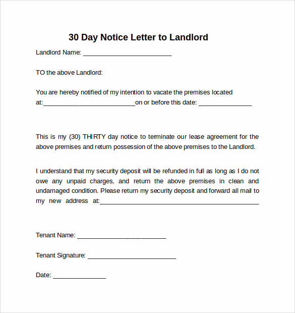 Sample Letter to Landlord Elegant 30 Days Notice Letter to Landlord 7 Download Free