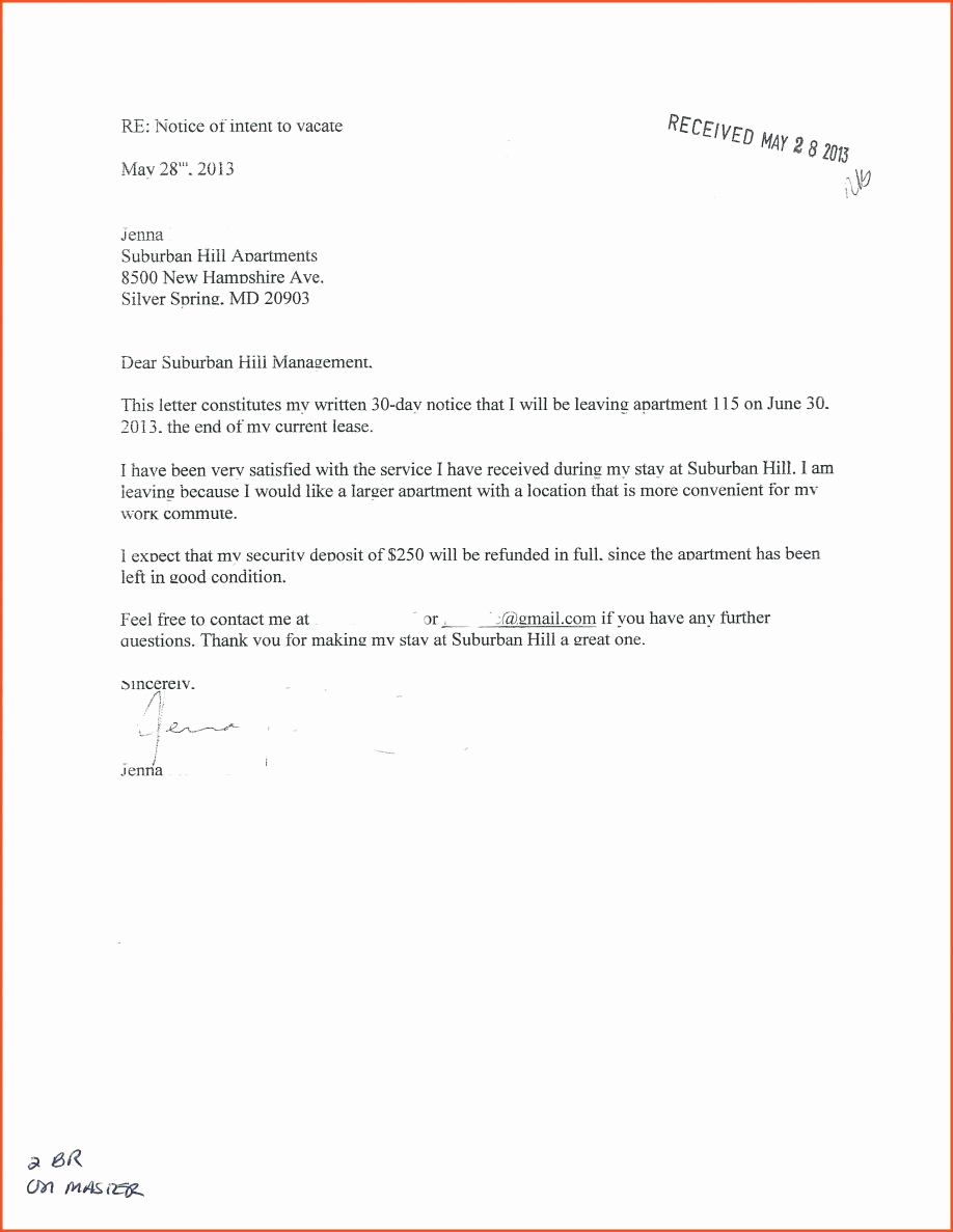 Sample Letter to Landlord Elegant Landlord 30 Day Notice Letter Examples Free Tenant to