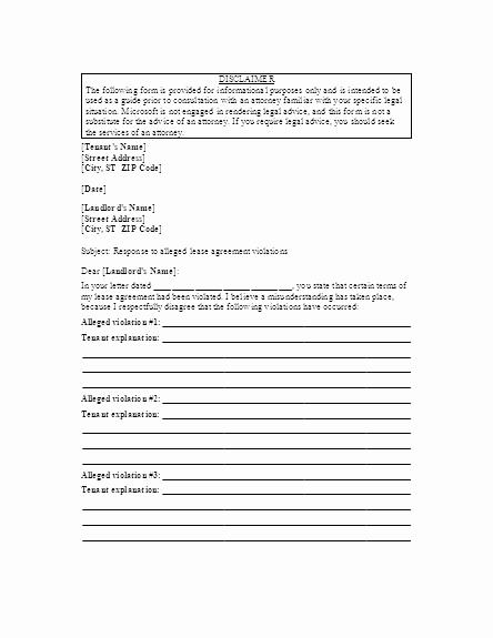 Sample Letter to Landlord Elegant Letter to Landlord Responding to Alleged Lease Violations