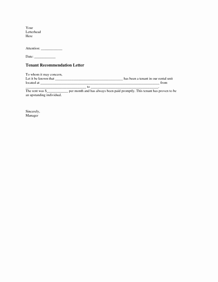 Sample Letter to Landlord Elegant Tenant Re Mendation Letter A Tenant Re Mendation