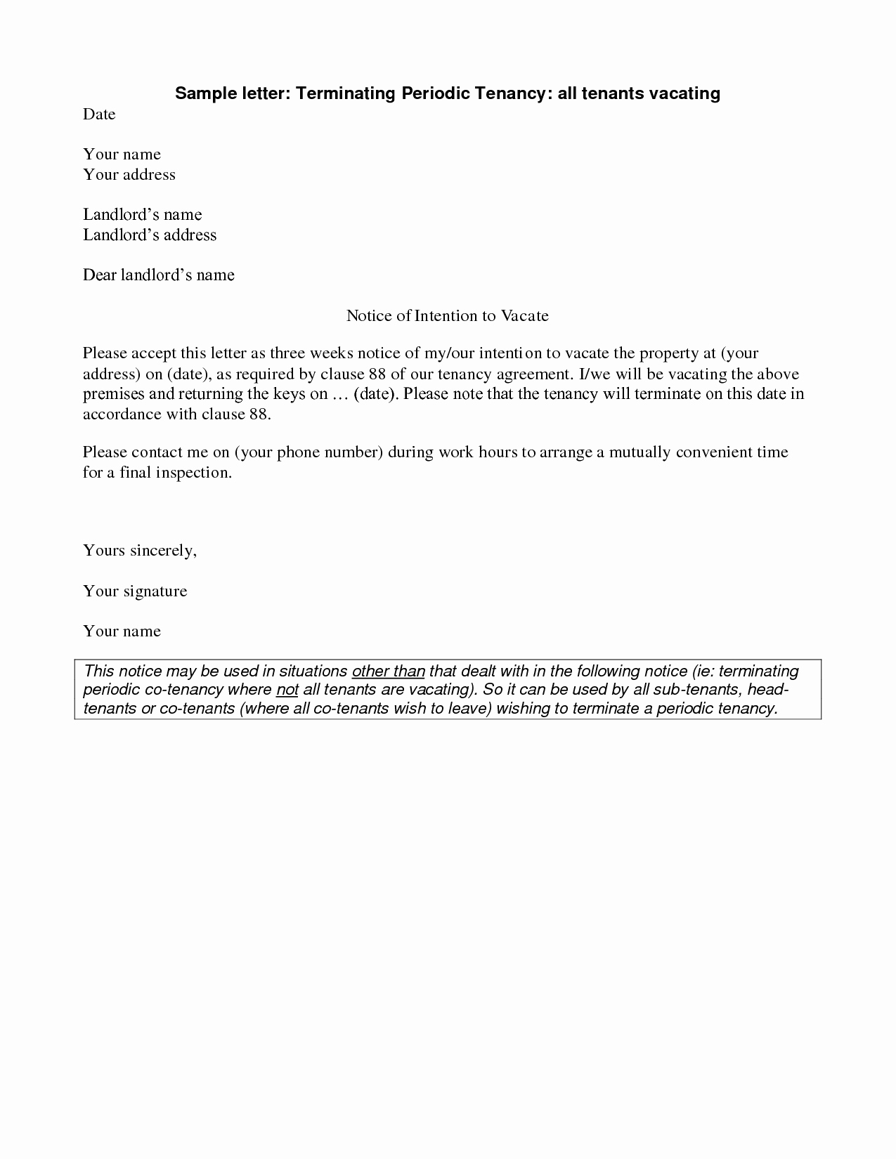 Sample Letter to Landlord Fresh Best S Of Renters Notice Letter Tenant Notice