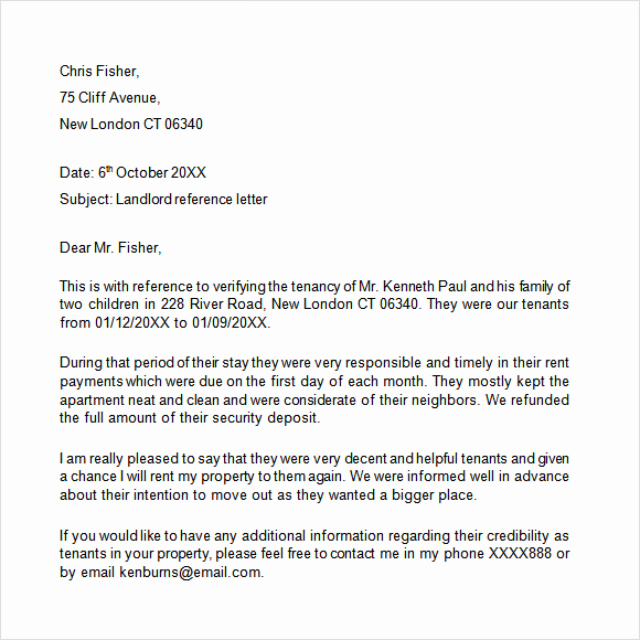 Sample Letter to Landlord Fresh Landlord Reference Letter Template 8 Download Free