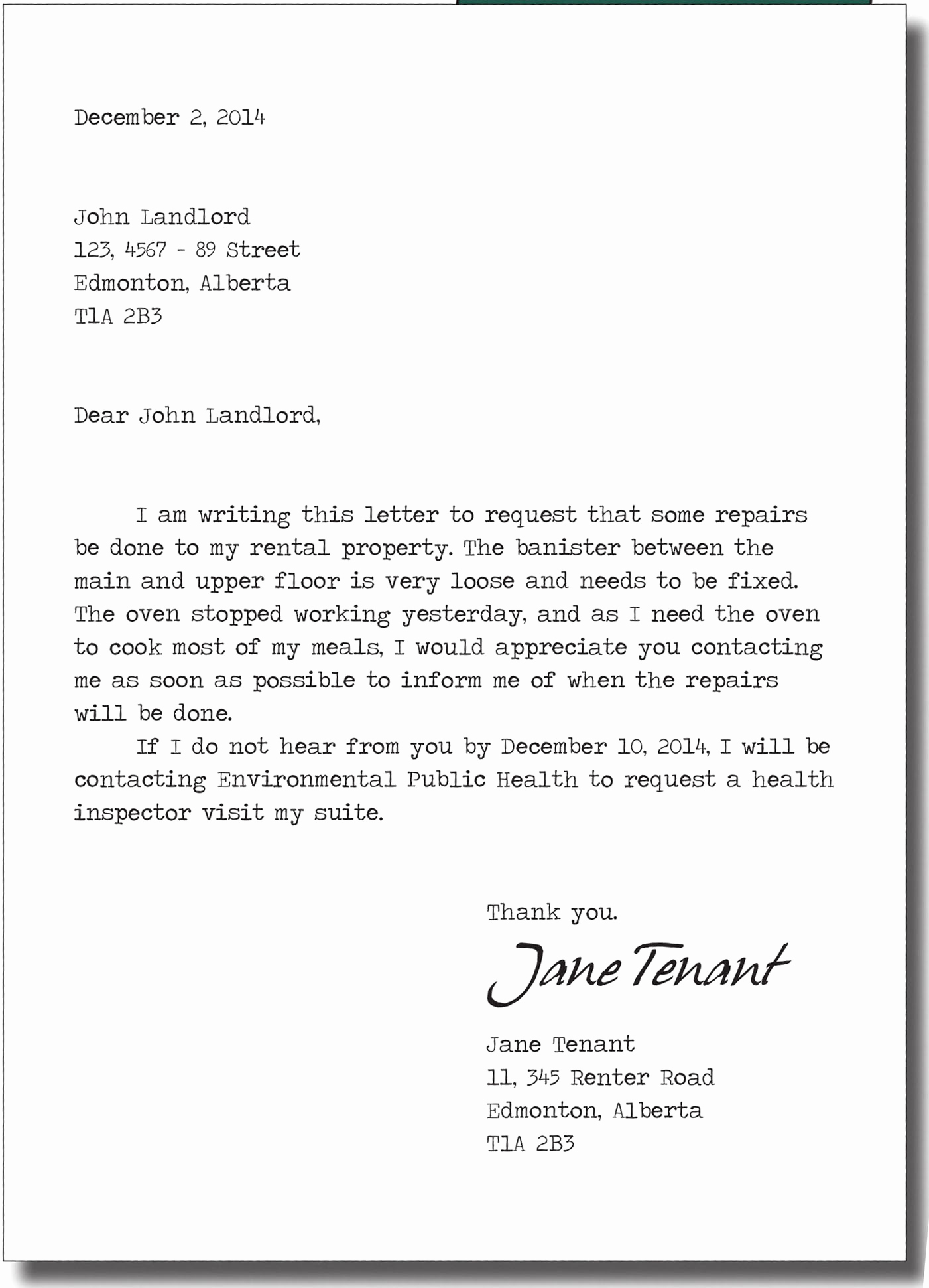 Sample Letter to Landlord Fresh Repairs Cplea Landlord and Tenant