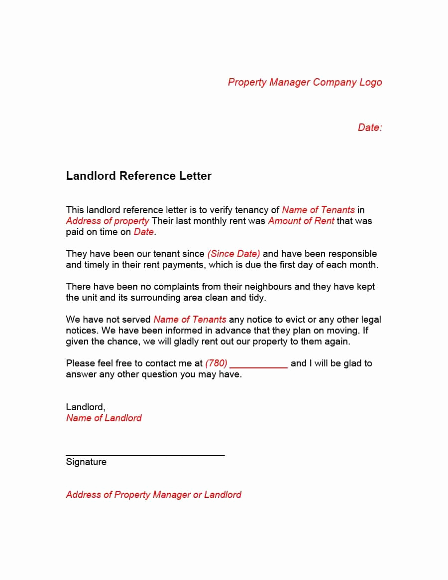 Sample Letter to Landlord Lovely 40 Landlord Reference Letters & form Samples Template Lab