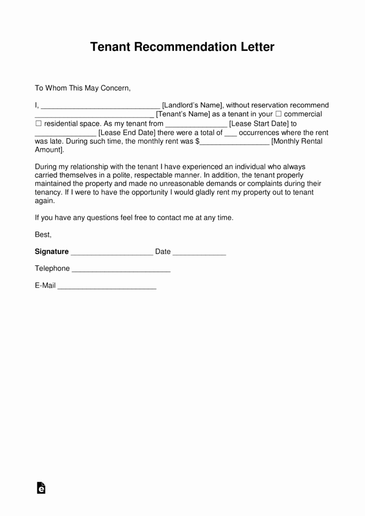 Sample Letter to Landlord Luxury Free Landlord Re Mendation Letter for A Tenant with