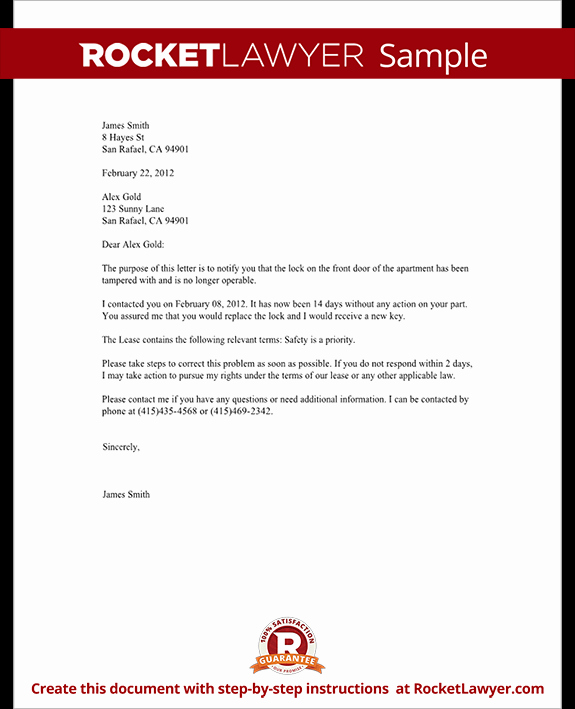 Sample Letter to Landlord Luxury Plaint Letter to Landlord Template with Sample