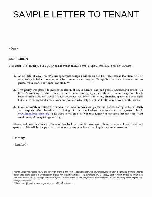 Sample Letter to Landlord New Sample Letter to Tenants Google Search