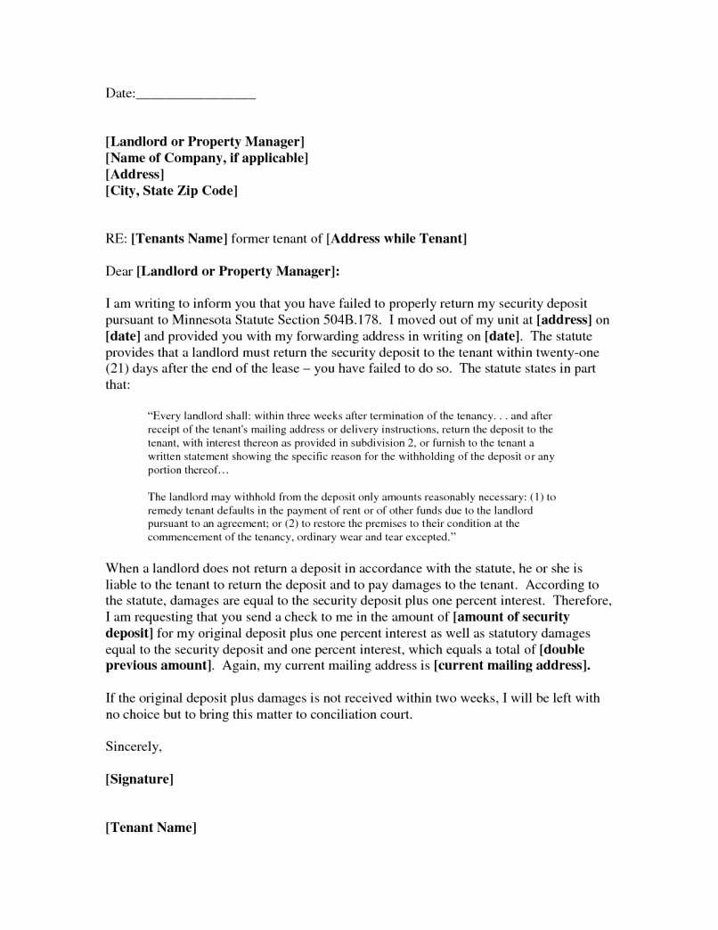 Sample Letter to Landlord Unique Letter to Tenant Demanding Payment for Damages