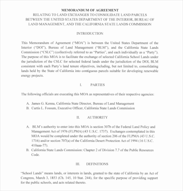Sample Memorandums Of Understanding Awesome 16 Memorandum Of Agreement Templates Pdf Doc