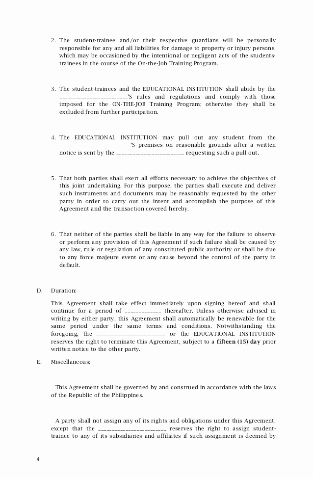 Sample Memorandums Of Understanding Best Of Memorandum Agreement Sample