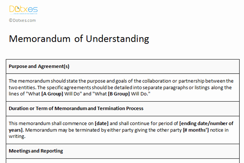 Sample Memorandums Of Understanding Best Of Memorandum Of Understanding Sample Template Dotxes