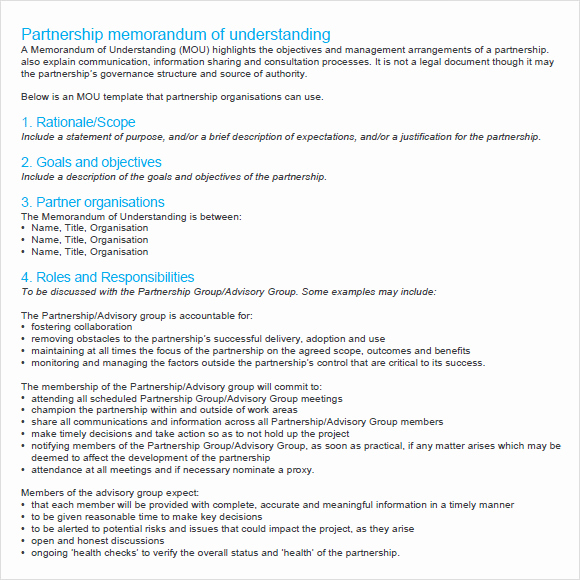 Sample Memorandums Of Understanding Inspirational Memorandum Of Agreement 7 Free Samples Examples format