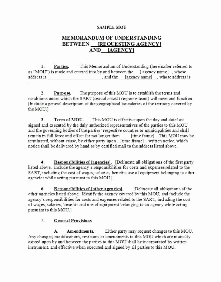 Sample Memorandums Of Understanding Unique 50 Free Memorandum Of Understanding Templates [word]