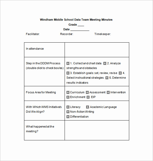 Sample Minute Of Meeting Lovely School Meeting Minutes Template – 7 Free Word Excel Pdf