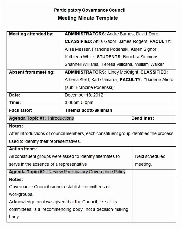 Sample Minute Of Meeting Unique Meeting Minutes Template 25 Free Samples Examples