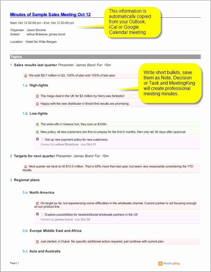 Sample Minutes Of Meetings Inspirational Sample Sales Meeting Minutes Template