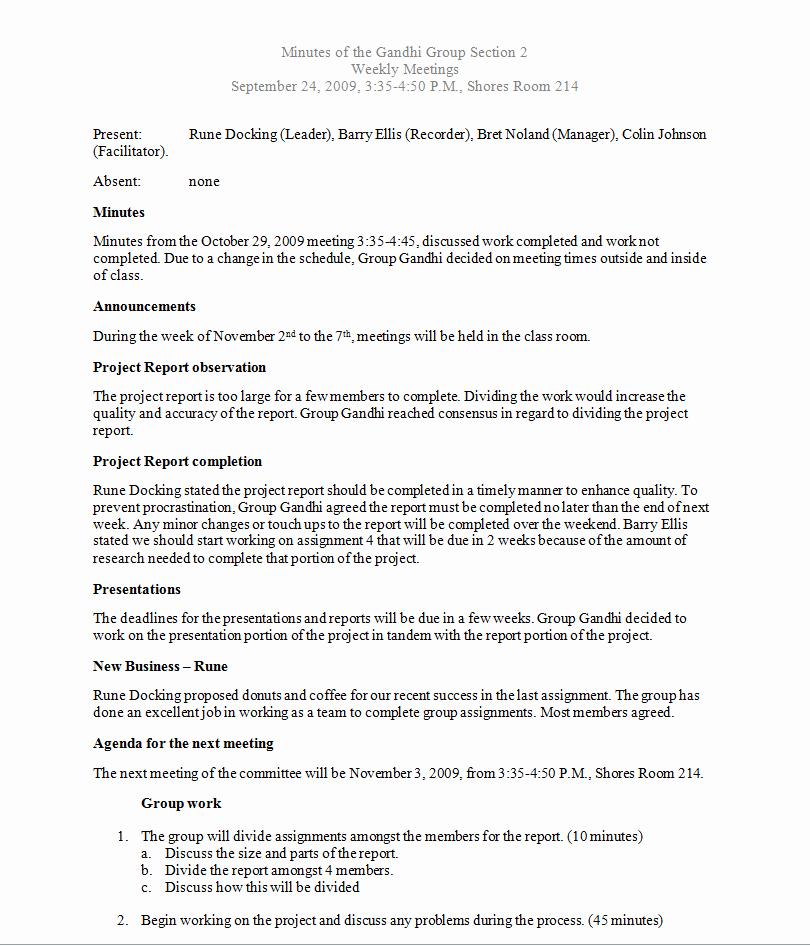 Sample Minutes Of Meetings Inspirational Writing Samples