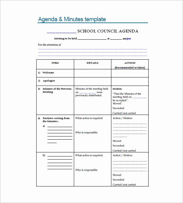 Sample Minutes Of Meetings Lovely 18 School Meeting Minutes Templates Pdf Doc