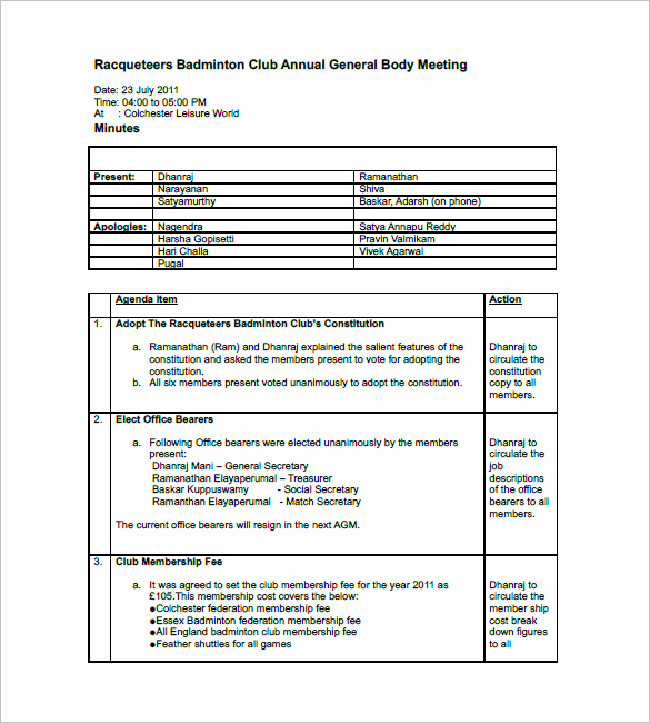 Sample Minutes Of Meetings Unique Club Meeting Minutes Template 9 Free Sample Example