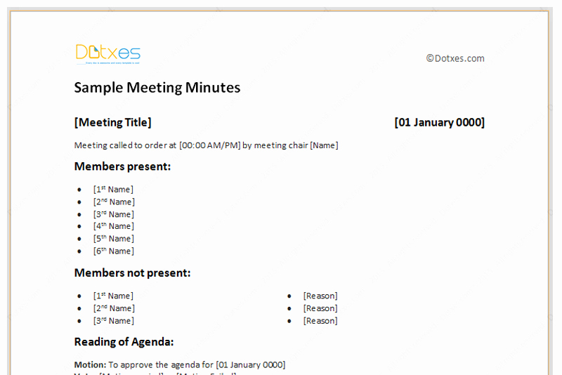 Sample Minutes Of Meetings Unique Meeting Minutes Template Free Printable formats for Word