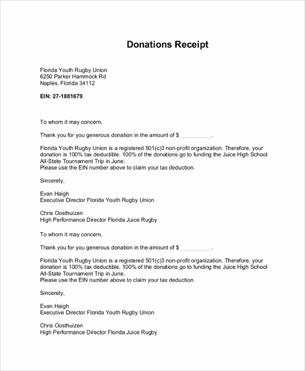 Sample Nonprofit Gift Acknowledgement Letter Fresh Sample Donation Receipt Letter 7 Documents In Pdf Word