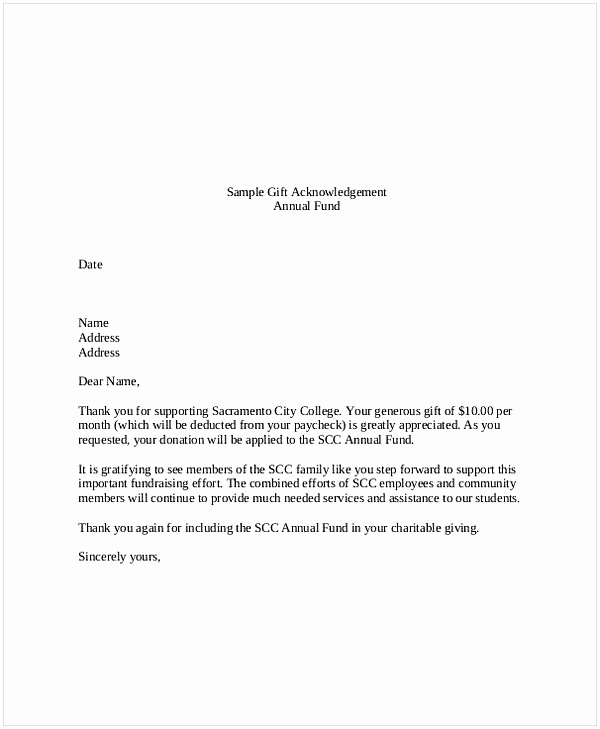 Sample Nonprofit Gift Acknowledgement Letter Unique Sample T Letter