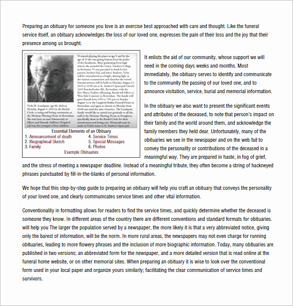 Sample Obituary for Father Awesome Obituary Writing Template 11 Free Word Excel Pdf